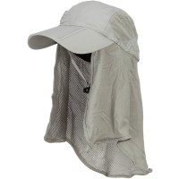 Outdoor - Grey Taslon UV Folding Bill Cap with Flap