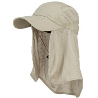 Outdoor - Khaki Taslon UV Folding Bill Cap with Flap