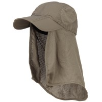 Outdoor - Olive Taslon UV Folding Bill Cap with Flap