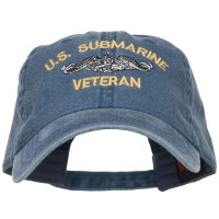 Embroidered Cap - Navy Submarine Veteran Washed Cap