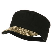 Cadet - Black Gold Stones Bill Military Cap