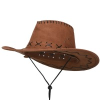 Western - Brown Stitched Suede Cowboy Hat