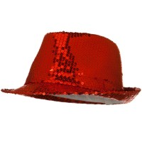 Fedora - Red Shiny Sequin Fedora Hat