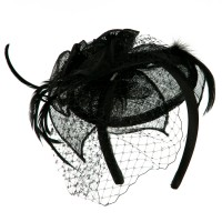 Dressy - Black Sinamay Drop Cocktail Hat | Coupon Free | e4Hats.com