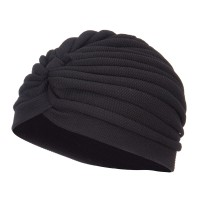 Wrap - Black Women's Solid Turban Hat