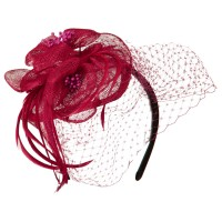 Dressy - Fuchsia Sinamay Drop Cocktail Hat | Coupon Free | e4Hats.com