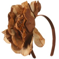 Dressy - Bronze 6 Inch Flower Satin Headband
