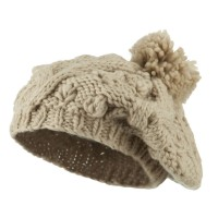 Beret - Beige Twist Beret Knitted with Pom Pom