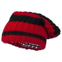 Beanie - Red Black Two Tone Knit Deep Beanie