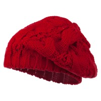 Beret - Red Women's Thick Cable Knit Beret