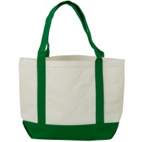 Bag - White Kelly Two Tone Cotton Canvas Tote Bag