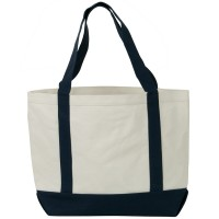 Bag - White Navy Two Tone Cotton Canvas Tote Bag