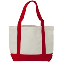 Bag - White Red Two Tone Cotton Canvas Tote Bag
