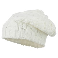 Beret - White Women's Thick Cable Knit Beret