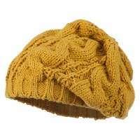 Beret - Mustard Women's Thick Cable Knit Beret