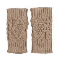 Glove - Taupe 6 Inches Knit Hand Warmer