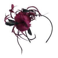 Dressy - Burgundy Feather Accent Headband