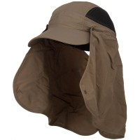 Outdoor - Brown Taslon UV Cap with Removable Flap