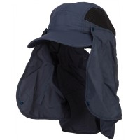 Outdoor - Navy Taslon UV Cap with Removable Flap
