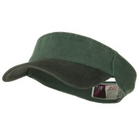 Black Dark Green Two Tone Washed Pigment Dyed Cotton Twill Flex Sun Visor: Plain Strap Back Visor