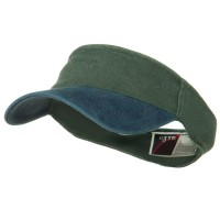 Navy Dark Green Two Tone Washed Pigment Dyed Cotton Twill Flex Sun Visor: Plain Strap Back Visor