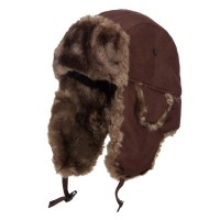 Trooper - Brown Suede Solid Faux Fur Trooper Hat