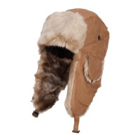 Trooper - Chestnut Suede Solid Faux Fur Trooper Hat
