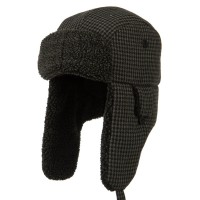 Trooper - Black Big Size Tweed Sherpa Lining Hat