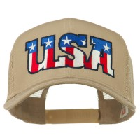 Embroidered Cap - Khaki USA American Embroidered Cap