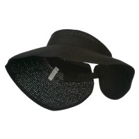 Visor - Black UPF 50+ Bow Closure Roll Up Visor