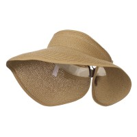 Visor - Light Brown UPF 50+ Bow Closure Roll Up Visor