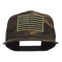 Embroidered Cap - Subdued American Flag Patched Camo Snapback
