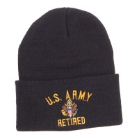 Designed Beanie - Black Army Retired Embroidered Beanie