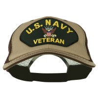 Embroidered Cap - Khaki Brown Navy Veteran Patched Big Size Cap