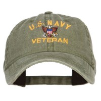 Embroidered Cap - Olive US Navy Veteran Washed Cap