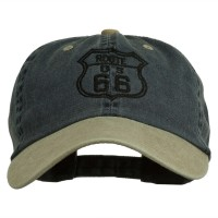 Embroidered Cap - Navy Khaki Route 66 Embroidered Washed Cap