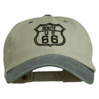 Embroidered Cap - Beige Navy Route 66 Embroidered Washed Cap