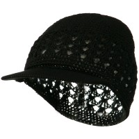 Beanie Visored - Black Visor Cotton Kufi Cap