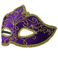 Face Mask - Purple Gold Purple Gold Velour Gold Mask