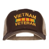 Embroidered Cap - Brown Beige Vietnam Veteran Embroidered Big Cap