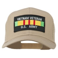 Embroidered Cap - Khaki Vietnam Army Veteran Patched Cap