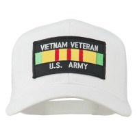 Embroidered Cap - White Vietnam Army Veteran Patched Cap
