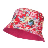 Bucket - Pink Reversible Floral Design Bucket Hat