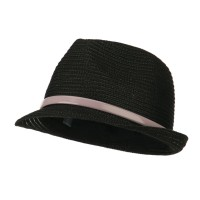 Fedora - Black Women's Feather Leather B, Fedora