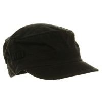 Cadet - Black Washed Cotton Fitted Army Cap | Coupon Free | e4Hats.com