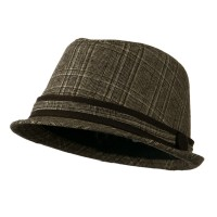 Fedora - Brown Plaid Women's Brown Plaid Fedora