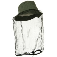 Outdoor - Olive Washed Cotton Mosquito Net Hat