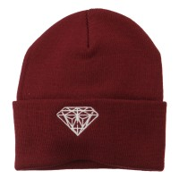 Beanie - Maroon White Diamond Cuff Beanie | Coupon Free | e4Hats.com