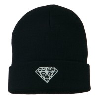 Beanie - Navy White Diamond Cuff Beanie | Coupon Free | e4Hats.com