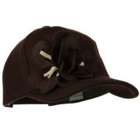 Ball Cap - Brown Wool Cap with Flowers